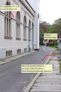 L.-Naundörfchen, Blick in die heutige Straße Naundörfchen hinter der Hauptfeuerwache (2014)