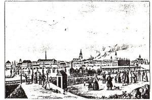 Bahnübergang an der Eisenbahnstraße, um 1850