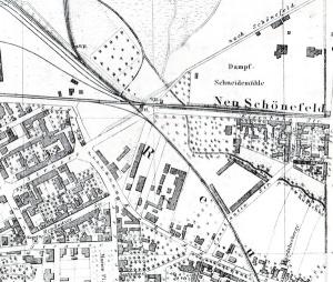 Situationsplan der östlichen Leipziger Vororte (etwa 1875) historische Linienführung der Leipzig-Dresdner Eisenbahn an der Eisenbahnstraße bei Neuschönefeld