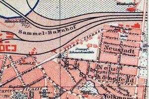 Stadtplanausschnitt der Leipziger Ostvororte aus Meyers Lexikon, um 1885