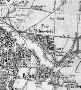 Ausschnitt aus dem Plan von Leipzig und den im Osten angrenzenden Dörfern, 1864