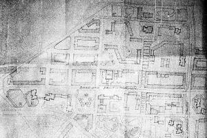 Ausschnitt aus einem Bebauungsplan der Leipziger Ostvorstadt vom Ende der 70er Jahre.