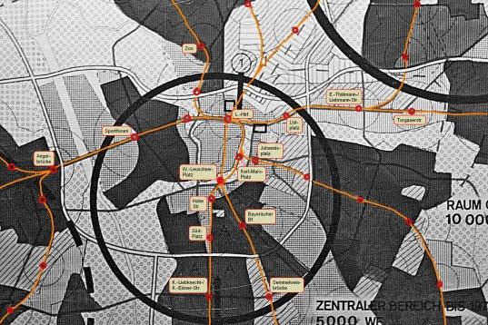 Ausschnitt aus dem General-Verkehrsplan der Stadt Leipzig aus dem Jahr 1975