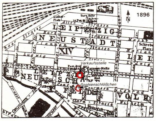 Ausschnitt aus einem Stadtplan, Adressbuch der Stadt Leipzig, 1896
