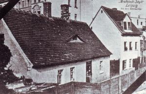"""Postkarten-Bild von der Straße """"An der Rietzschke"""" um 1900"""