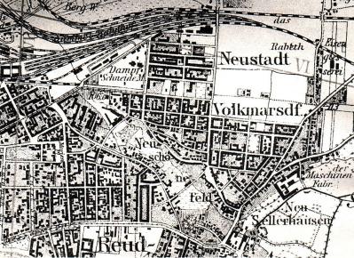 Kartenausschnitt der Umgebung von Leipzig, 1883