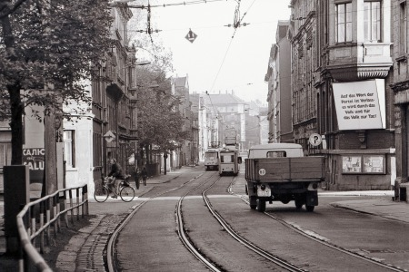 L.-Ost, Straßenszene an der Hermann-Liebmann-Straße, August 1978