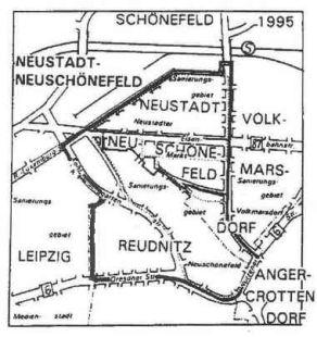 historische und heutige Lage von Neustadt/ Neuschönefeld innerhalb der Leipziger Ostvorstadt