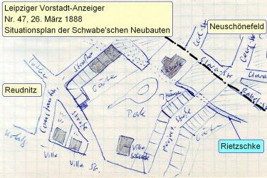 Bebauungsskizze der Schwabeschen Grundstücke, 1888