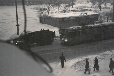 Leipzig, Ernst-Thälmann-Straße, Stillstand im Januar 1987