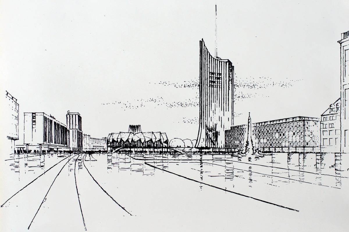 Projekt Skizze Der Henselmann Gruppe Zu Den Universitats Gebauden Am Leipziger Karl