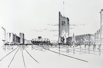 Projekt-Skizze der Henselmann-Gruppe zu den Universitäts-Gebäuden am Leipziger Karl-Marx-Platz, aus dem Jahr 1968