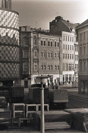 Leipzig, Blick vom Wagnerplatz zur Hainstraße, Februar 1982