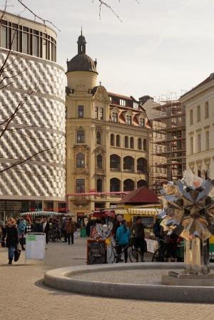 Leipzig, Blick vom Wagnerplatz zur Hainstraße, März 2015