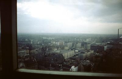 Leipzig, Blick vom Uni-Riesen Richtung NW, im Oktober 1974