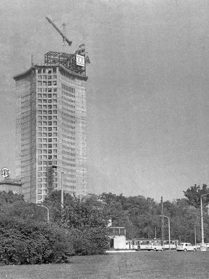 Leipzig, Bauplatz Uni-Hochhaus im Oktober 1969
