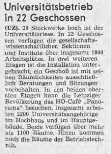 Leipzig, Artikel zur Übergabe des Hochhauses (UZ), im September 1973