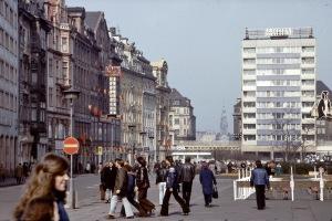 Leipzig, am Sachsenplatz zur Messezeit, im März 1975