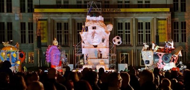 Leipzig, Augustusplatz mit Lipsia und den fünf Löwen