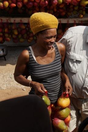 Nembsi (21) verkauft Mangonetzte an der Blyde River Bridge.