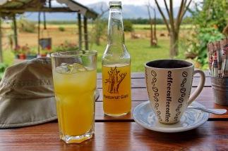 """Auch kleinere Lokalitäten wie das upside down Restaurant am ,,Giant Baobab"""" bei Hoedspruit bieten selbst hergestellten Mangosaft an. Und natürlich leckeren Kaffee."""